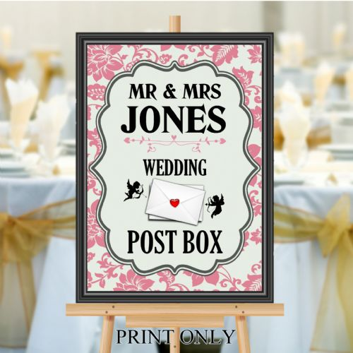 Personalised Wedding Money & Cards Post Box Sign Poster Banner - Print N184